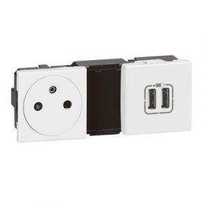 Prise de courant 2P+T Surface + chargeur 2 USB Type-A 2,4A 12W Mosaic 2x2 modules 230V ou 5V= - blanc