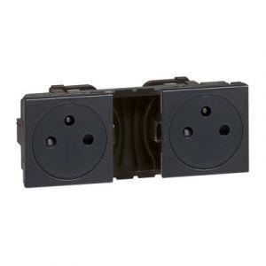 Double prise de courant 2P+T Surface précâblées Mosaic 2x2 modules - anthracite