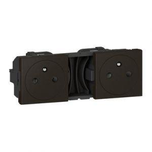Double prise de courant 2P+T Surface précâblées Mosaic 2x2 modules - noir mat