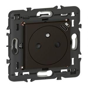 Prise de courant 2P+T Surface avec chargeur Type-C intégré en face avant Mosaic 2 module - noir mat livré avec support