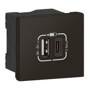 Chargeur USB Type-A + USB Type-C 3A 15W Mosaic Link raccordement latéral 2 modules 230V ou 5V= - noir mat