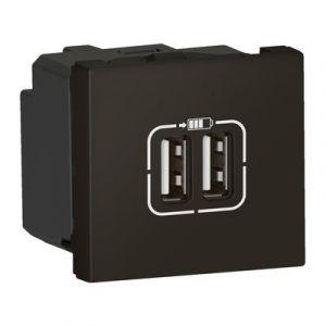 Chargeur 2 USB Type-A 2,4A 12W Mosaic 2 modules 230V ou 5V= - noir mat