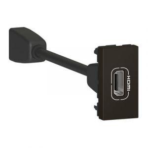 Prise HDMI typeA version 1.4 préconnectorisée Mosaic 1 module - noir mat