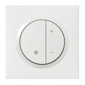 Variateur toutes lampes dooxie 2 fils sans Neutre livré avec plaque carrée blanche et griffes