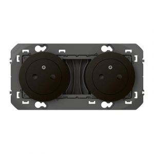 Double prise de courant 2P+T Surface dooxie 16A précâblées finition Noir