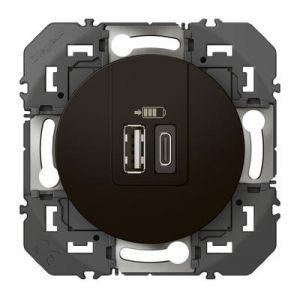 Double chargeur USB 1 TypeA + 1 TypeC dooxie 3A finition Noir