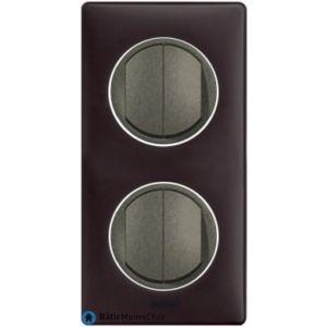 2 double poussoir Céliane graphite - Plaque Basalte