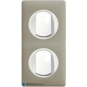 2 x poussoir simple Céliane blanc - Plaque Argile