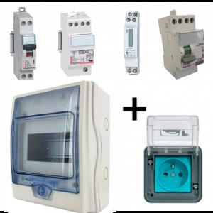 Kit recharge Sécurisé pour voiture electrique avec comptage et parafoudre HAGER HAG-BLM-VC-PA