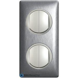 2 X double poussoir Céliane titane - Plaque Aluminium