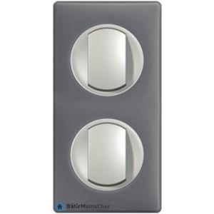 2 poussoir simple Céliane titane - Plaque Schiste