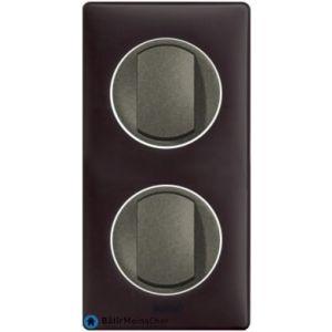 2 poussoir simple Céliane graphite - Plaque Basalte
