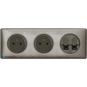 2 prises Surface + double RJ45 Céliane graphite - Plaque Tungstène