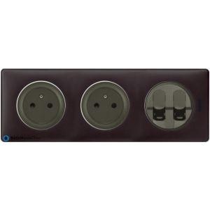 2 prises Surface + double RJ45 Céliane graphite - Plaque Basalte