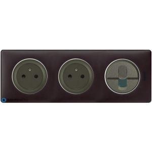 2 prises Surface + RJ45 Céliane graphite - Plaque Basalte