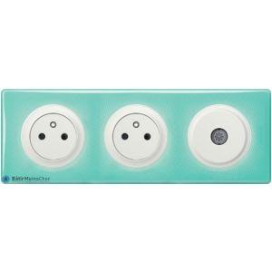 2 prises + TV Céliane blanc - Plaque 50's turquoise