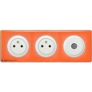 2 prises Surface + prise TV Céliane blanc - Plaque 70's orange