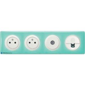 2 prises + TV + RJ45 Céliane blanc - Plaque 50's turquoise