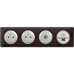 2 prises de courant + TV + RJ45 Céliane titane - Plaque Basalte