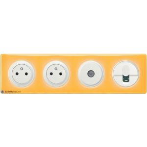 2 prises Surface + TV + RJ45 Céliane blanc - Plaque Today jaune