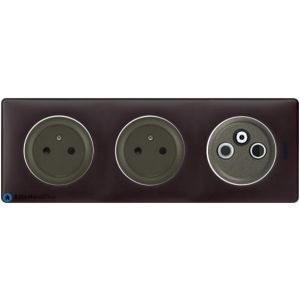 2 prises Surface + TV R SAT Céliane graphite - Plaque Basalte