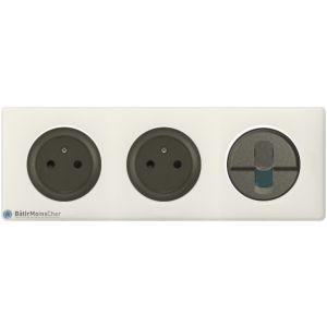 2 prises Surface + RJ45 Céliane graphite - Plaque Craie