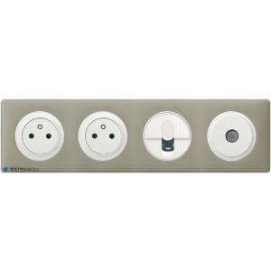 2 prises de courant + RJ45 + TV Céliane blanc - Plaque Argile