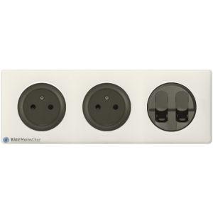 2 prises Surface + double RJ45 Céliane graphite - Plaque Craie