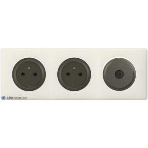 2 prises Surface + TV Céliane graphite - Plaque Craie