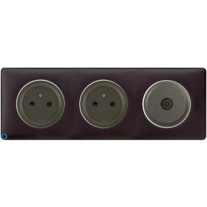 2 prises Surface + TV Céliane graphite - Plaque Basalte
