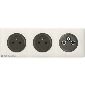 2 prises Surface + TV R SAT Céliane graphite - Plaque Craie