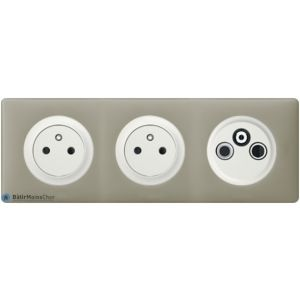 2 prises de courant + TV/R/SAT Céliane blanc - Plaque Argile
