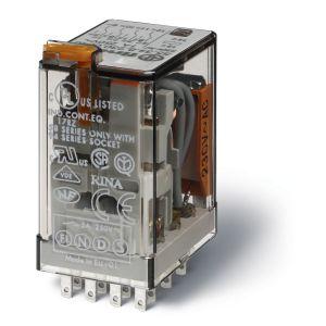 Relais embrochable 4rt 7a 24vac bouton test + indicateur mecanique