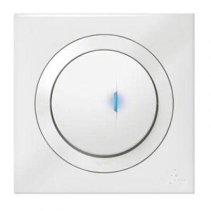 Poussoir simple avec voyant lumineux dooxie IP44 6A 250V~ livré avec plaque carrée blanche