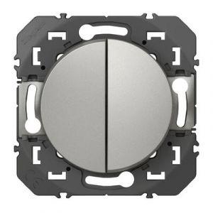 Double interrupteur ou va-et-vient dooxie 10AX 250V~ finition alu