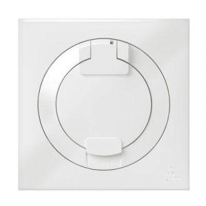 Prise de courant 2P+T à puits dooxie 16A IP44 livrée avec plaque carrée blanche