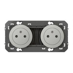 Double prise de courant 2P+T Surface dooxie 16A précâblées finition aluminum-600432 - Legrand