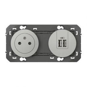 Prise de courant 2P+T Surface + module de charge 2 USB TypeA dooxie 3A précâblés finition alu 600442 Legrand