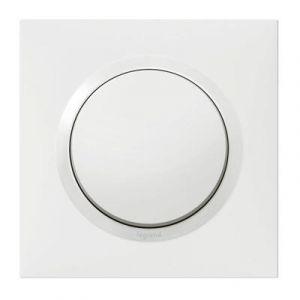 Interrupteur ou va-et-vient dooxie one 10AX 250V~ livré avec plaque carrée blanche et griffes