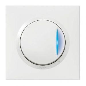 Interrupteur ou va-et-vient avec voyant témoin dooxie one 10AX 250V~ livré avec plaque carrée blanche et griffes