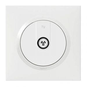 Prise TV étoile blindée dooxie one livrée avec plaque carrée blanche et griffes - Legrand - 600751