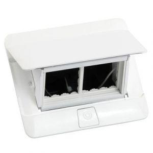 Prise escamotable Pop up 4 modules à équiper livré avec kit d'installation - blanc brillant