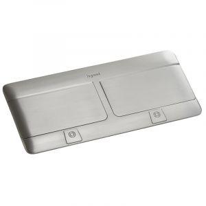 Prise escamotable Pop up mobilier 2x4 modules à équiper livré avec kit d'installation - inox mat