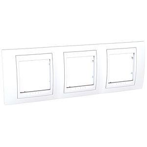 Plaque 3 postes horizontal - Blanc