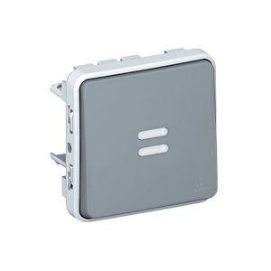 Poussoir lumineux NO Plexo composable - Gris - 069542 - Legrand