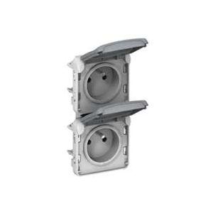 Prise double vertical Plexo composable - Gris