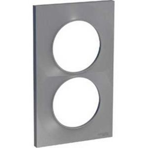 Plaque 2 postes entraxe 57mm Odace Styl - Alu