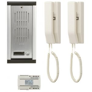 Kit portier audio encastré longue distance 2 postes intérieurs