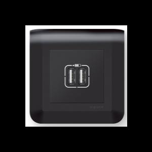 Prise double USB A - Mosaic Noir