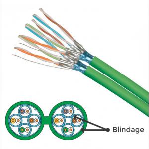 Câble Schneider 2X4P Grade 3TV 10GB pour Rj45 2 mètres Catégorie 6A F/FTP